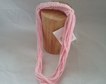 Light pink crocheted necklace.