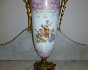 French antique Art Nouveau period hand painted porcelain vase neoclassical scenes gilt metal appliqué circa 1900