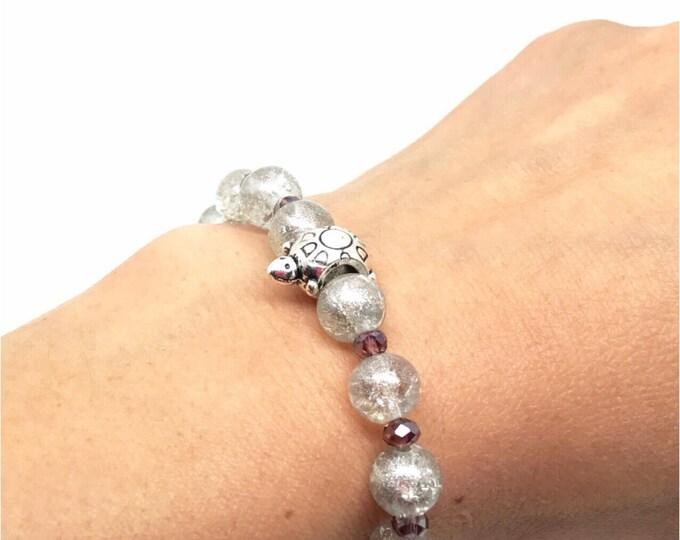 Crystal pink bracelet, streching bracelet, white stretching, white bracelet, white crystal strech bracelet