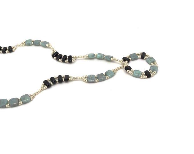 Blue black necklace, tila beaded necklace, tila necklace, turquoise black necklace, tila necklace, blue necklace