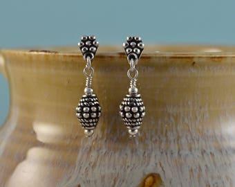 Bali Sterling Silver Earrings, Beaded Earrings, Oxidized Silver Earrings, Bali Silver Post Earrings