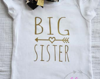 Long sleeve and short sleeve Big Sister Shirt or Onesie with Gold lettering - Puffy Sleeve shirt and ruffle neck long sleeve