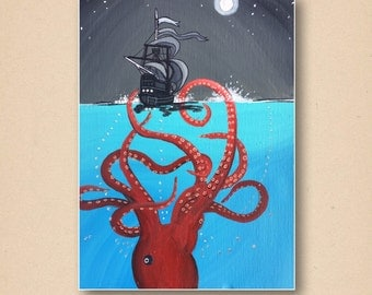 Kraken and ship seascape artwork postcard