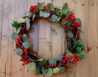 Silk Christmas Wreath with Berries and Eucalyptus