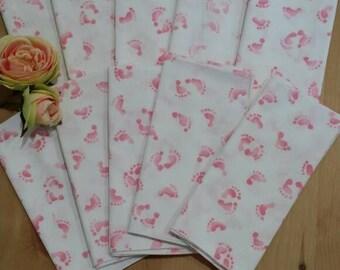Vintage 1990s Cloth Napkins Baby Shower Pink Girl Footprints 12x12 Set of 10