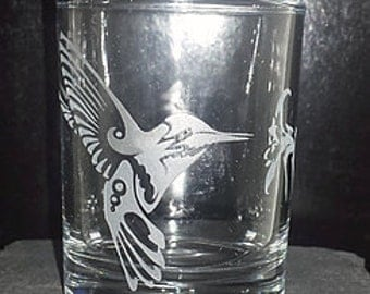 Hummingbird Etched Votive Candle Holder
