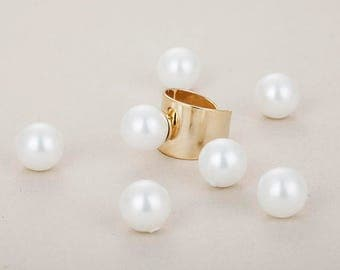 Pearl (Cream White) 12mm, jewelry Supplies Plated - 2 Pieces [R0031-CW]