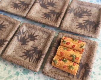 2Miniature Ceramic Tray, Miniature Tray,Miniature food Tray,Dollhouse Tray,Ceramic tray,Dollhouse food tray,Miniature Japanese tray