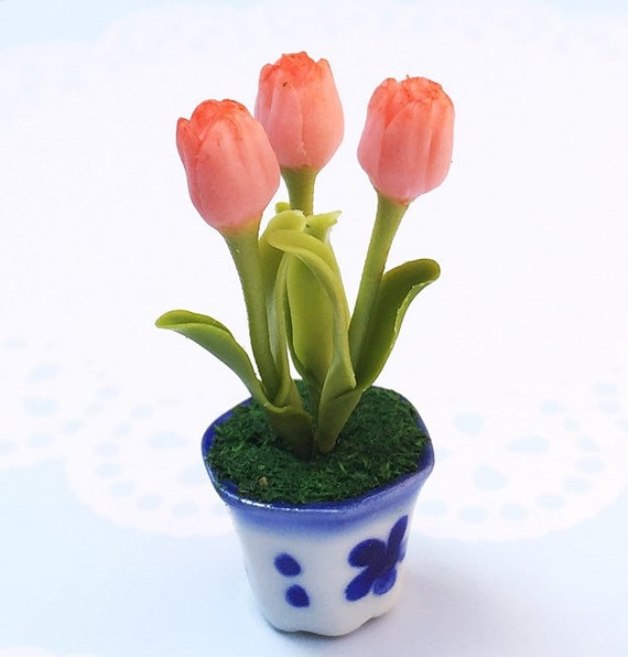 Miniature Flower,Miniature Flower Pot,Miniature Vase,Dollhouse Flower,Miniature Garden,Dollhouse Flower Pot,Miniature Tulip Flower,Dollhouse