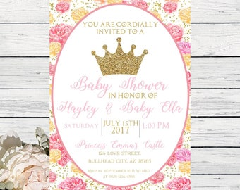 Princess Baby Shower Invite Pink and Gold confetti peony***Digital File*** DIY Print (Baby-PrincesFloral)