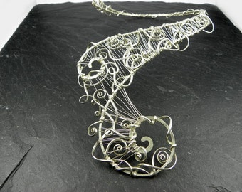 Sculpted Asymmetrical Necklace woven in Sterling Silver