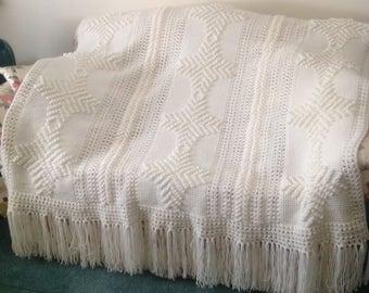 Soft white afghan stitch afghan