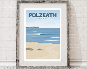 A3 Surf Travel Poster. Polzeath, Cornwall. Surfing
