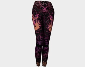 Ganesh Henna Design Leggings Black with Ombre Blended Warm Colors Mommy and Me Yoga Pants