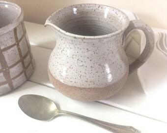 Handmade Pottery White Stoneware Pitcher