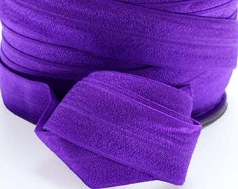 5 Yards of FOE - Purple Fold Over Elastic, FOE, 1 Inch, Shiny Elastic for sewing hair bands, headbands etc. Diaper Cover Elastic 1556