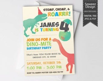 Dinosaur Invitation Dinosaur Birthday Party Invitation Dinosaur JPEG & PDF File