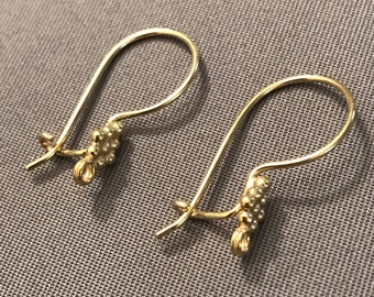 Five (5) Pair French Hook Earring Components, Vermeil Gold