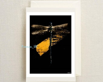 Dragonfly Gold.  Fine art greetings card