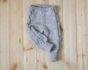 Hand knit baby pants, light grey pants, warm knitted pants, newborn gift, toddler pants, knitted baby photo prop, winter pants onward onward