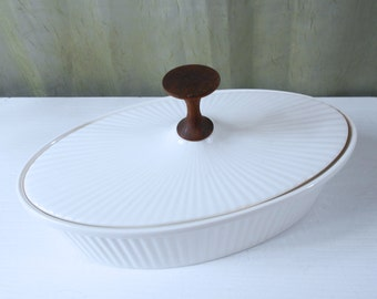 Ribbed Covered Serving Dish with Teak Handle by Ernest Sohn Creations