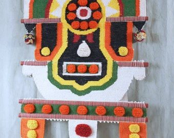 Mod Tribal Wall Hanging in the Style of Don Freedman - Woven Wool Fiber Art