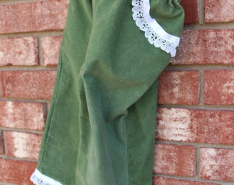 Toddler - Green Corduroy Pants Trimmed with Lace