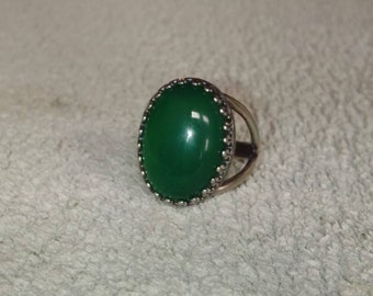 925 Antique Silver Plated / 925 Antique Silver Green Onyx Ring  - Free Ring Size