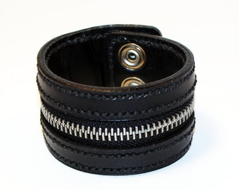 Black Zipper Bracelet. Handmade Bracelet. Black Cuff. Zipper Cuff. Black Zipper.Handmade Accessories.