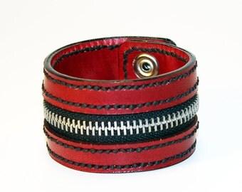 Red Zipper Bracelet. Handmade Bracelet. Red Cuff. Zipper Cuff. Red Zipper.Handmade Accessories.