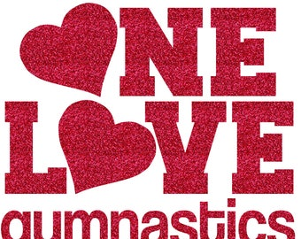 One Love Gymnastics Iron On Decal