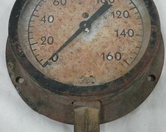 Vintage steam pressure gauge steampunk lamp industrial art