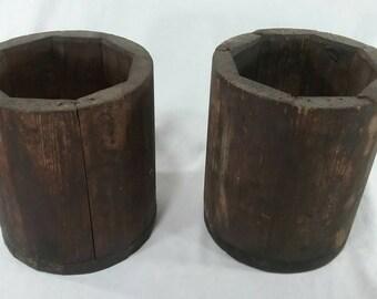 Pair of vintage primitive wood bucket pot