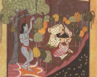 Sukra and Rambha in Darkened Heavens ... Indian Miniature Painting printed reproduction, 1991