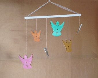 Mobile little angels - gold, silver, blue, yellow, pink, orange, purple, green objects DECO objects deco objetsdeco2013