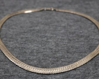 Sterling Silver Flat Large Necklace