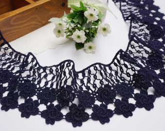 "Dark Navy Blue lace trim Cotton lace trim embroidery lace trim 2.76""wide x 2.2 yards long(yuan)"