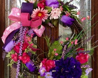 SALE 50% OFF - Spring Wreath with Assorted Pink Purple White Flowers - Use coupon code TRAIL50 at checkout