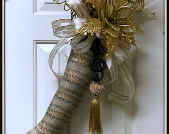 REDUCED!!!!  Christmas music stocking boot door hanger
