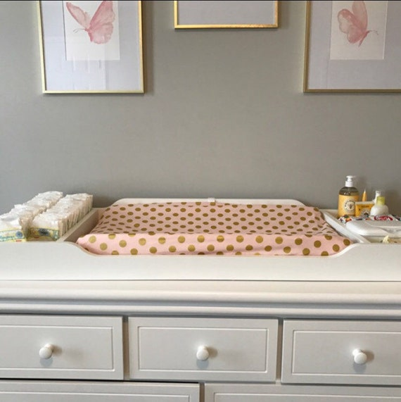 Changing Pad Cover Light Pink With Gold Polka Dots