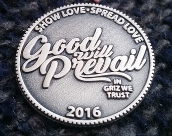Good Will Prevail Griz Hat Pin [ SILVER ] *LIMITEDEDITION* Heady Hat Pins by : Eccentric Visuals