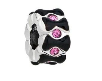 Pink European Charm, Black Large Hole Bead, Bracelet Charm Beads, Large Hole Bead, European Bracelet, Beads for Charm Bracelets