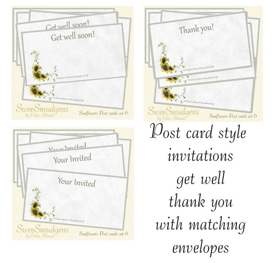 Sunflower post card style thank you get well invitations sunflower stationary spring summer matching envelope hand made event card note card