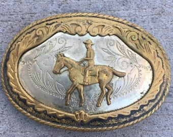 ON SALE! Vintage German Silver Cowboy Riding Horse Western Belt Buckle