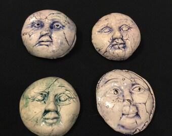 Ceramic Mini FACES SUN Mask Lot Set of 4 Pottery Hangings