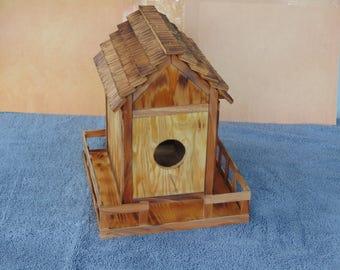 SALE! Wood birdhouse, birdhouse, bird feeder, wooden birdfeeder, home decor, gardening, burned wood birdhouse, burned wood bird feeder
