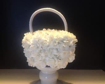 White Dove Flower Girl Basket