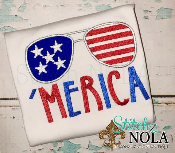 SHIPS FAST! Merica Sunglasses, American Flag Applique, Patriotic applique, Memorial Day Applique, Fourth of July Applique, Sunglasses Appliq