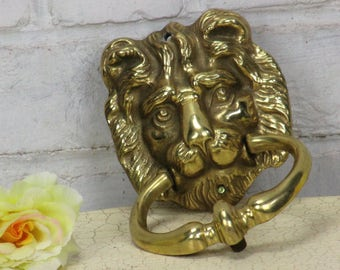 Vintage Brass Door Knocker Lions Head Architectural Reclaimed Lovely