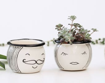 Two Mini Succulent Planters/ Ceramic Mini Plant Pots/ His and Hers / Ceramic Face Planters/ Handmade Pottery/ Eyelashes Planter/ Moustache